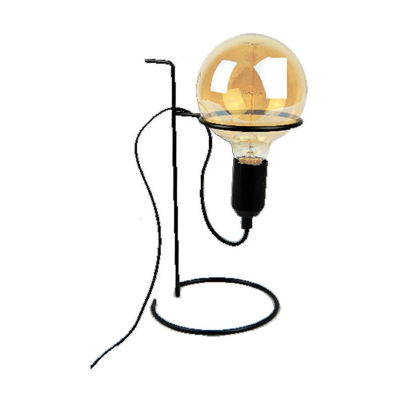 Lámpara de sobremesa, Serie bony, armazón metálico en acabado negro, 1 luz. Cable con interruptor. Sin bombilla.