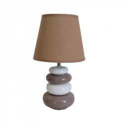 Lámpara de sobremesa, Serie Arizona, armazón de cerámica, 1 luz, con pantalla de tela en acabado marrón claro.