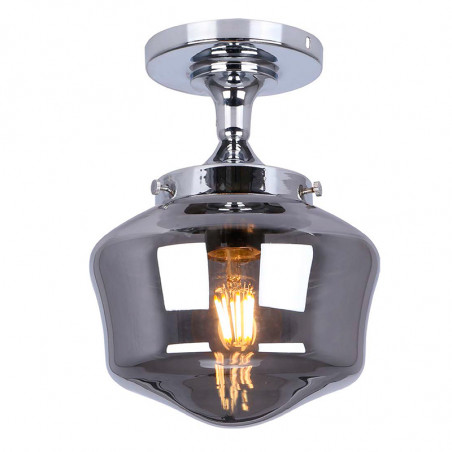 Lámpara de techo plafón, Serie Michigan, armazón metálico en acabado cromo, 1 luz, con cristal en acabado fumé.