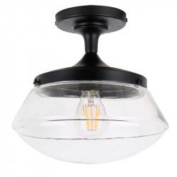 Lámpara de techo plafón, Serie Illinois, armazón metálico en acabado negro, 1 luz, con cristal en acabado transparente.