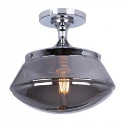 Lámpara de techo plafón, Serie Illinois, armazón metálico en acabado cromo, 1 luz, con cristal en acabado fumé.