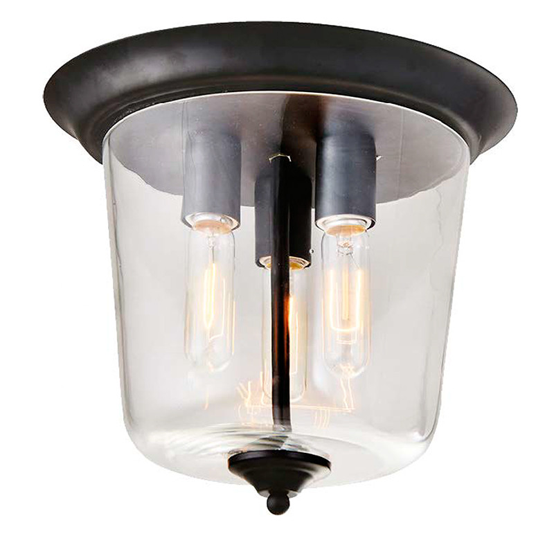 Lámpara de techo plafón, Serie Nevada, armazón metálico en acabado negro, 3 luces, con cristal en acabado transparente.