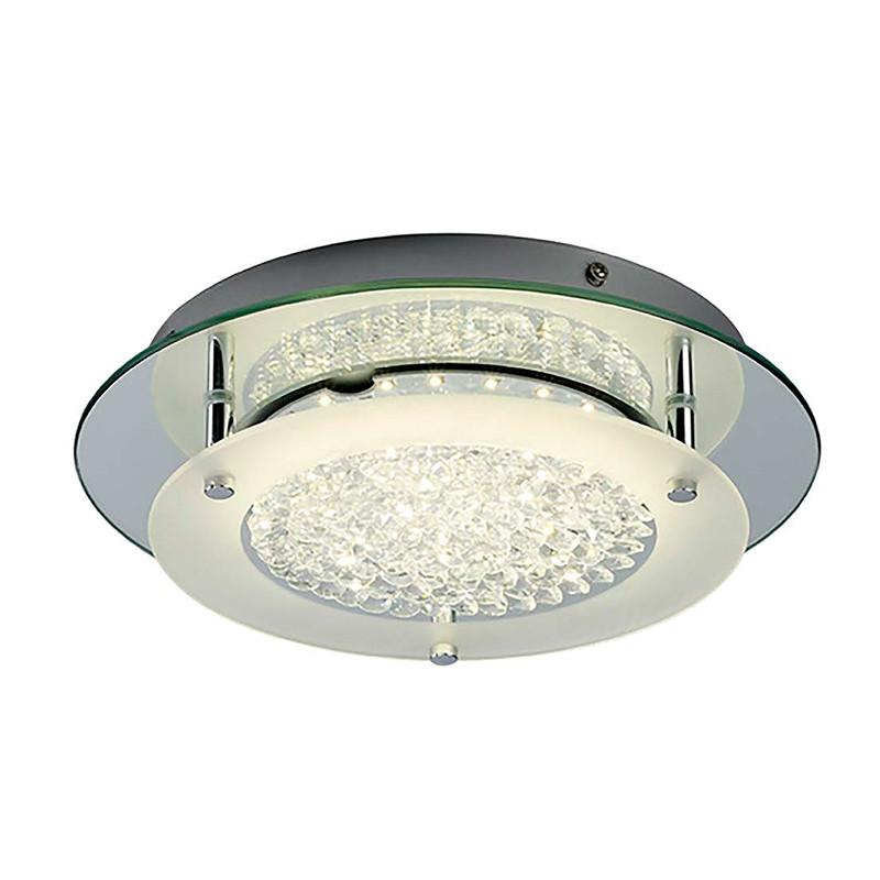 Lámpara de techo plafón LED, Serie Creta, armazón metálico y cristal, iluminación LED integrada, 12W.