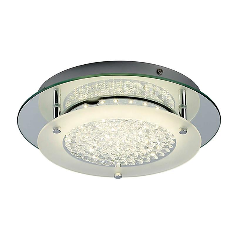 Lámpara de techo plafón LED, Serie Creta, armazón metálico y cristal, iluminación LED integrada, 21W.