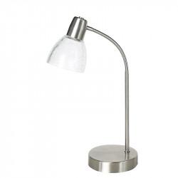 Lámpara de sobremesa, Serie Banus, armazón metálico en acabado níquel satinado, 1 luz, brazo flexible, con tulipa.