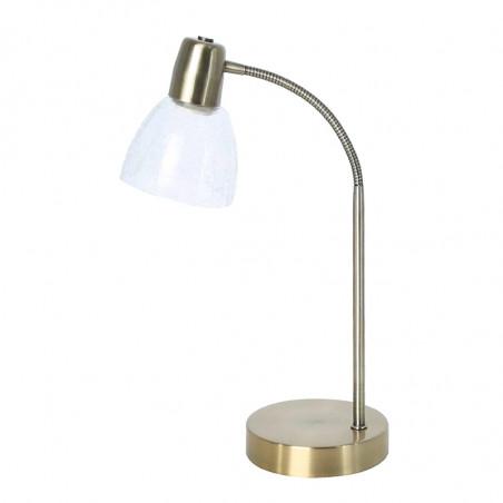 Lámpara de sobremesa, Serie Banus Bronce, armazón metálico en acabado cuero, 1 luz, brazo flexible, con tulipa.