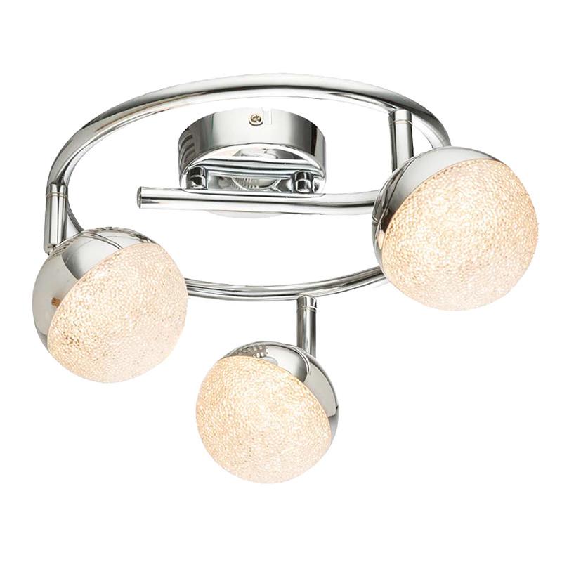 Lámpara de techo plafón LED, Serie Itaca, armazón metálico en acabado cromo, iluminación LED integrada, 3 luces.