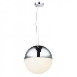 Lámpara de techo colgante, Serie Itaca, armacón metálico y acrílico en acabado cromo, iluminación LED integrada.