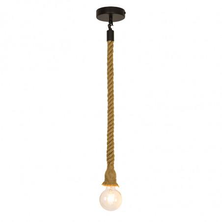 Lámpara de techo colgante, armazón metálico en acabado negro y cuerda natural, 1 luz. Sin bombilla.