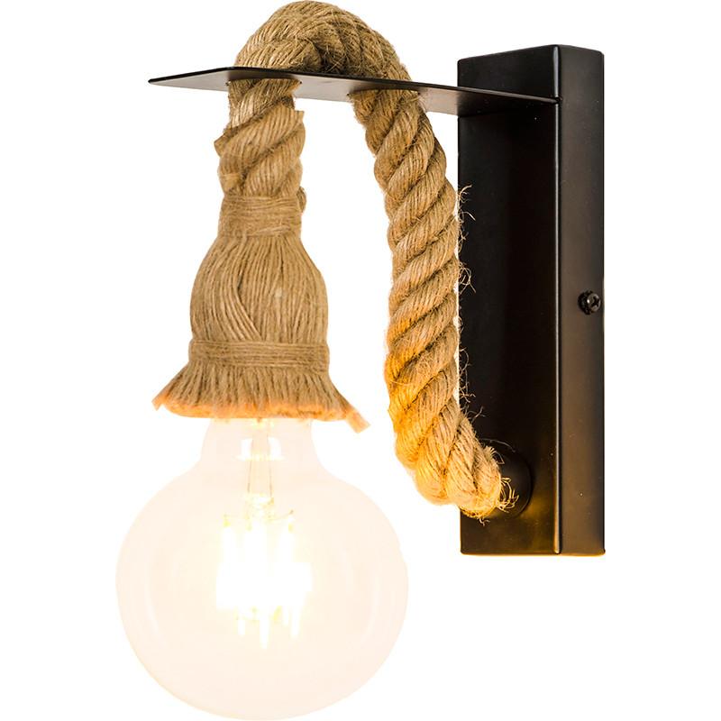 Aplique de pared, armazón metálico en acabado negro y cuerda natural, 1 luz. SIN BOMBILLA.