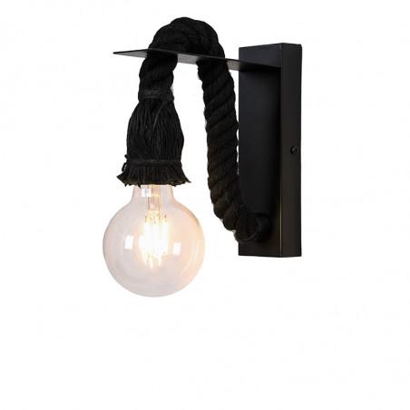 Aplique de pared, armazón metálico en acabado negro y cuerda natural en negro, 1 luz. SIN BOMBILLA.