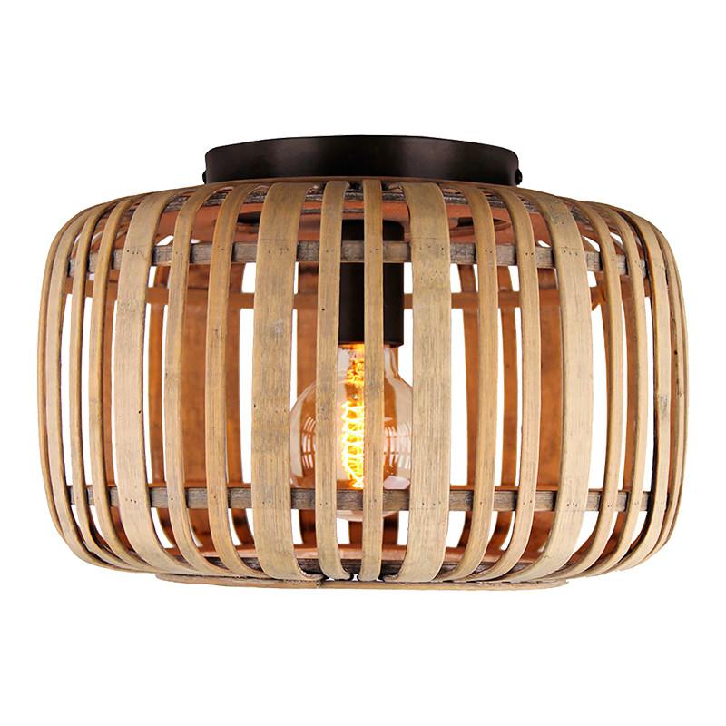 Lámpara de techo, Serie Miva, armazón metálico, 1 luz, con difusor de ratán.