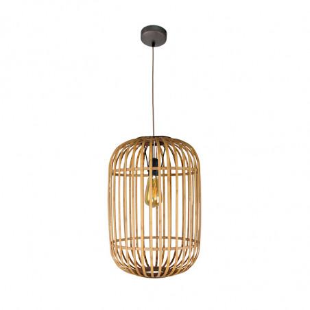 Lámpara de techo colgante, Serie Miva, armazón metálico en acabado en acabado negro, 1 luz, con pantalla Ø 32 cm, de ratán.