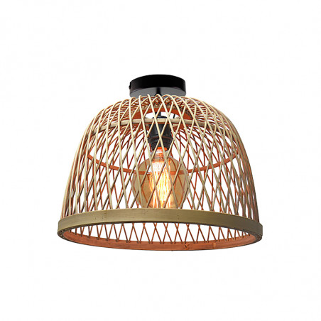 Lámpara de techo plafón, Serie Manila Natural, armazón metálico en acabado negro, 1 luz, con pantalla Ø 40 cm, de rattan