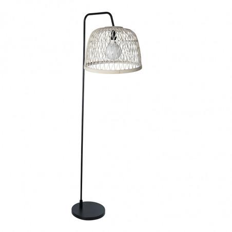 Lámpara Pie de Salón moderno, Serie Manila Blanca, estructura metálica en acabado negro, 1 luz, con pantalla Ø 40 cm.