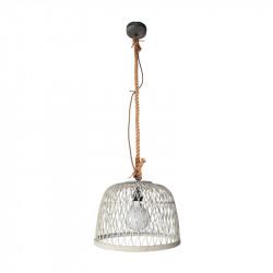 Lámpara de techo colgante, Serie Manila Blanca, armazón metálico en acabado negro, y cuerda, 1 luz, con pantalla Ø 40 cm.