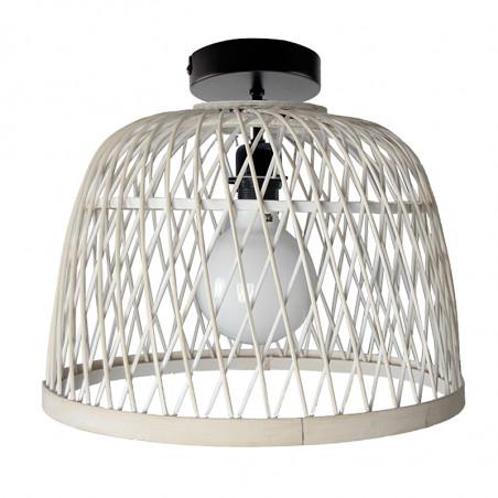 Lámpara de techo plafón, Serie Manila Blanca, armazón metálico en acabado negro, 1 luz, con pantalla Ø 40 cm.