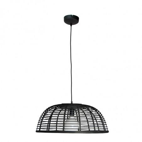 Lámpara de techo colgante, Serie Lombok, armazón metálico en acabado negro, con cable textil, 1 luz, con pantalla Ø 56 cm.