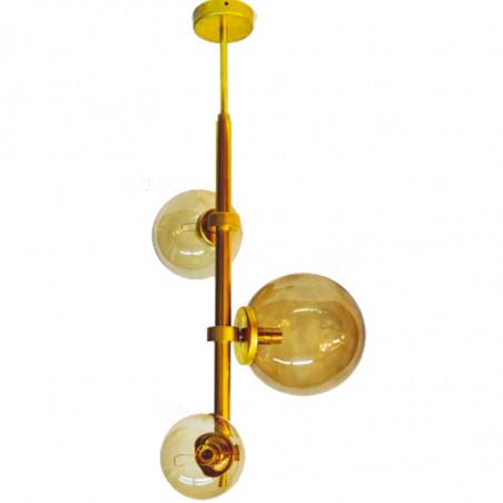 Lámpara de techo, de latón, con bolas de cristal en acabado ámbar en varias medidas