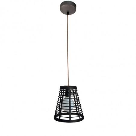 Lámpara de techo colgante, Serie Lombok Cono, armazón metálico en acabado negro, cable textil, 1 luz, con pantalla Ø 21 cm.