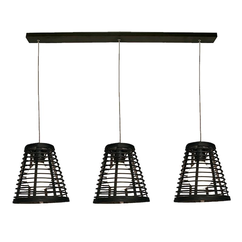 Lámpara de techo, Serie Lombok Cono, armazón metálico en acabado negro, 3 luces, con pantalla Ø 21 cm.