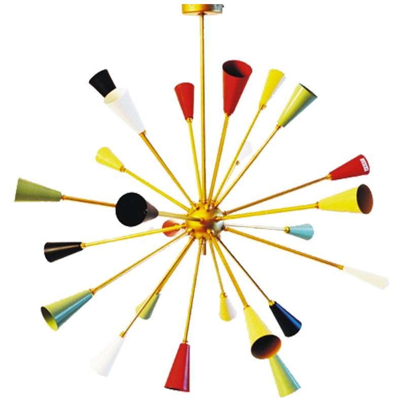 Lámpara de techo, Serie Delorian, en latón con piezas en valores, 24 luces. Lámpara d techo, estilo retro / vintage