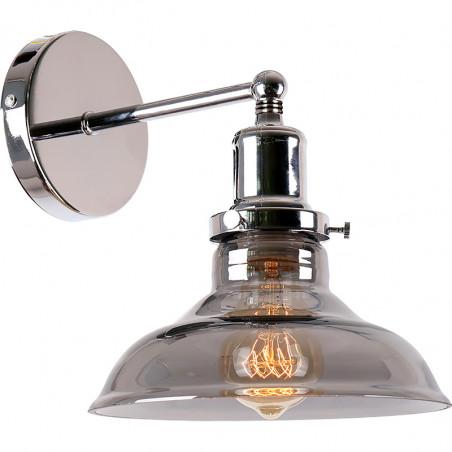 Aplique de pared, Serie Tenesi, armazón metálico en acabado cromo brillo, 1 luz, con difusor de vidrio soplado fumé Ø 20.4 cm.
