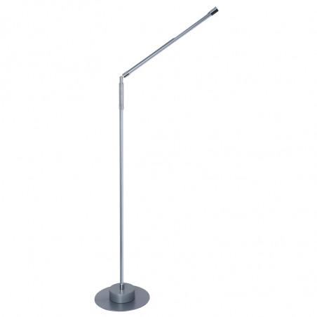 Lámpara Pie de Salón, Serie Click, armazón metálico en acabado gris claro, con elementos en acabado cromo brillo, LED integrado.
