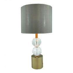Lámpara de sobremesa, Serie Sorken, armazón metálico en acabado cuero y cristal, 1 luz, con pantalla Ø 25 cm.