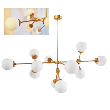 Lámpara de techo, estilo retro vintage, estructura de latón, 12 luces, con bola de cristal opal blanco.