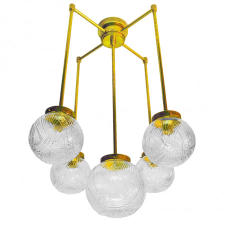 Lámpara de techo, estructura de latón en acabado satinado, 5 luces, con bolas de cristal transparentes labradas.
