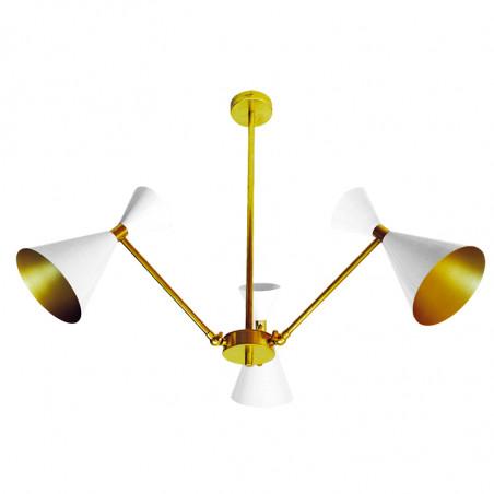 Lámpara de techo, estructura de latón en acabado satinado, 3 luces, con pantallas metálicas