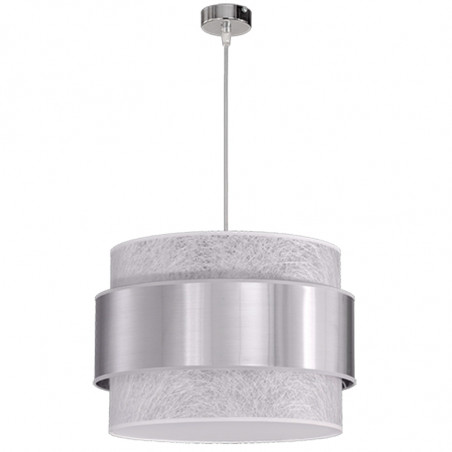Lámpara de techo colgante, de doble pantalla Ø 45 cm, cilíndrica combinada, interior en tela Fibra blanca.
