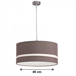 Lámpara de techo colgante, armazón metálico en acabado níquel satinado, con pantalla cilíndrica Ø 45 cm.
