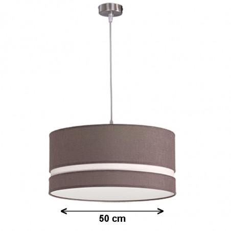 Lámpara de techo colgante, armazón metálico en acabado níquel satinado, con pantalla cilíndrica Ø 50 cm.