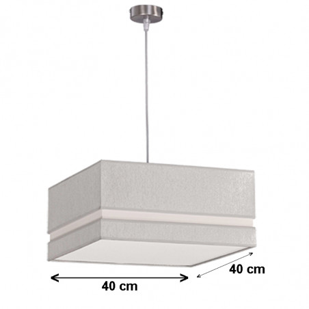 Lámpara de techo colgante, metal en acabado níquel satinado, con pantalla cuadrada 40x40 cm, centro hundido desplazado.