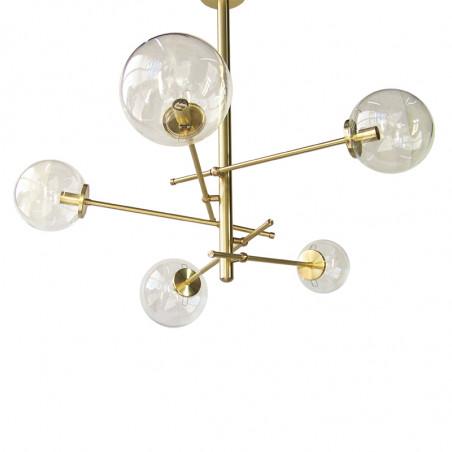 Lámpara de techo, estructura de latón en acabado satinado, 6 luces, con bolas de Ø 14 cm en cristal transparente.