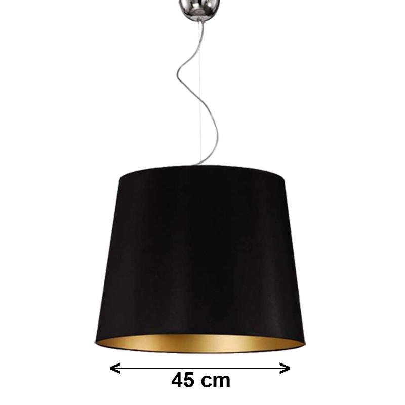 Lámpara de techo colgante, armazón metálico en acabado cromo brillo, 3 luces, con pantalla Ø 45 cm, exterior en negro.