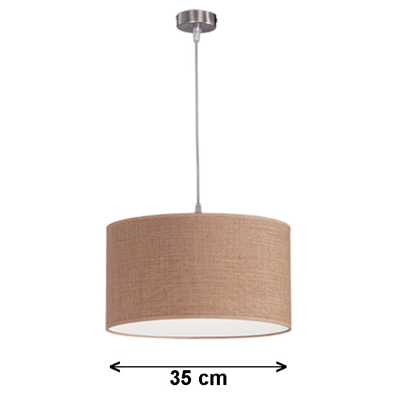 Lámpara de techo colgante, armazón metálico en acabado níquel satinado, 1 luz, con pantalla cilíndrica Ø 35 cm.