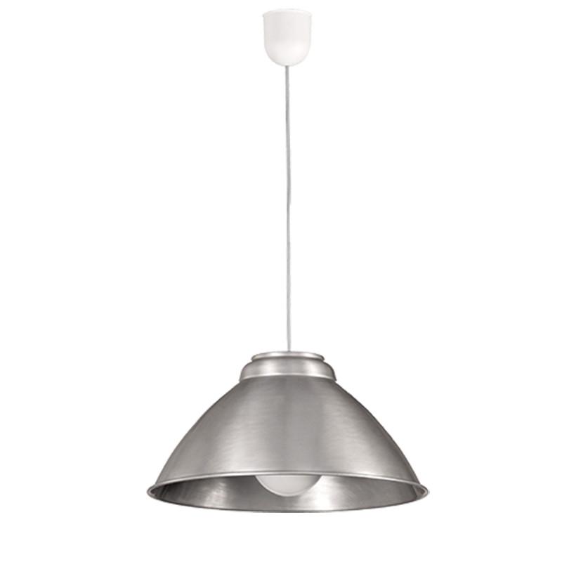 Lámpara de techo colgante, con pendel de plástico blanco, 1 luz, con difusor de aluminio, Ø 35 cm.