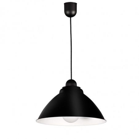 Lámpara de techo colgante, con pendel de plástico blanco, 1 luz, con difusor de aluminio, Ø 35 cm, en acabado negro exterior.