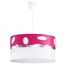Lámpara de techo colgante, Serie Topos, con pendel de plástico blanco, 1 luz, pantalla cilíndrica combinada.