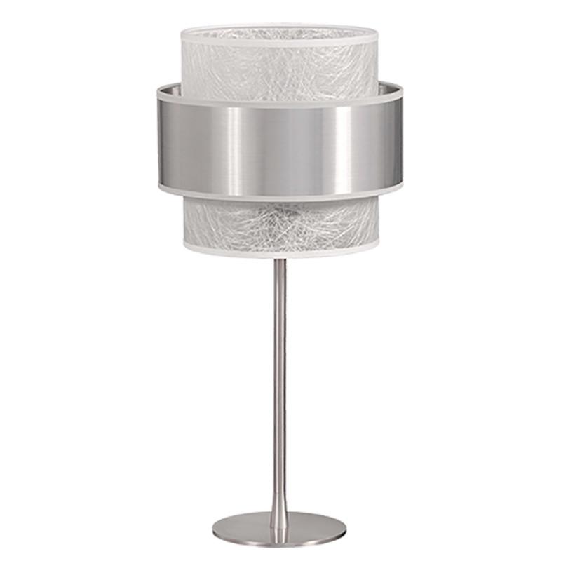 Lámpara de sobremesa, estructura metálica en acabado cromo brillo, 1 luz, con pantalla doble combinada.
