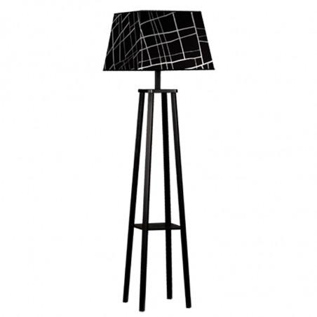 Lámpara de pie de salón, trípode de madera en acabado negro, con pantalla cuadrada en acabados del grupo 5.