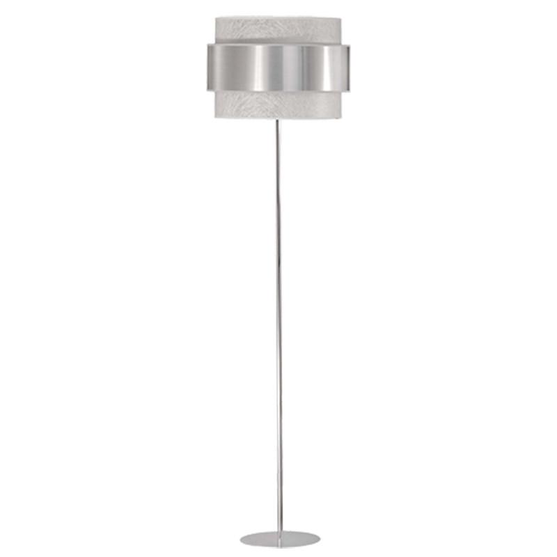 Lámpara de pie de salón, estilo Moderno, en acabado cromo, con pantalla doble combinada, interior en tela Fibra blanca