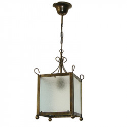 Lámpara de techo farol, de forja, estructura metálica en varios acabados, 1 luz, con cristales traslucidos.