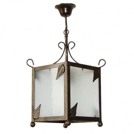 Lámpara de techo farol, estructura metálica en varios acabados, con elementos decorativos de hojas, 1 luz, con cristaleS.