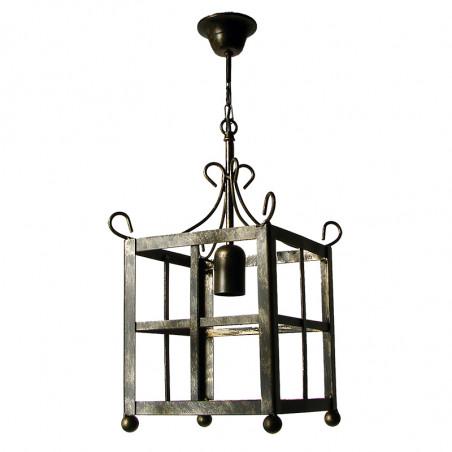Lámpara de techo farol, estructura metálica en varios acabados,1 luz, sin cristales.