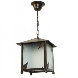 Lámpara de techo farol, de forja, estructura metálica en varios acabados, con elementos decorativos de hojas, 1 luz.