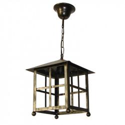 Lámpara de techo farol, de forja, estructura metálica en varios acabados, 1 luz, sin cristales.